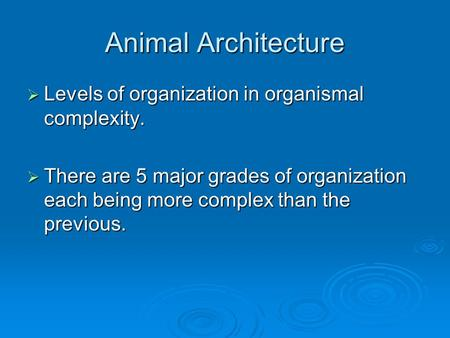 Animal Architecture Levels of organization in organismal complexity.