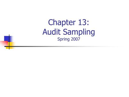 Chapter 13: Audit Sampling Spring 2007. Overview of Sampling.