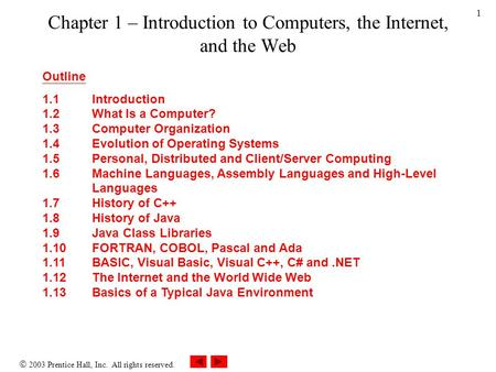  2003 Prentice Hall, Inc. All rights reserved. 1 Chapter 1 – Introduction to Computers, the Internet, and the Web Outline 1.1 Introduction 1.2 What Is.