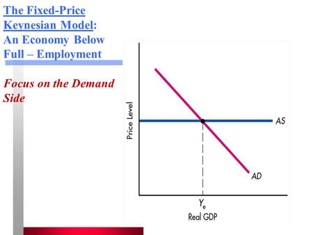 The Fixed-Price Keynesian Model: An Economy Below Full – Employment Focus on the Demand Side.
