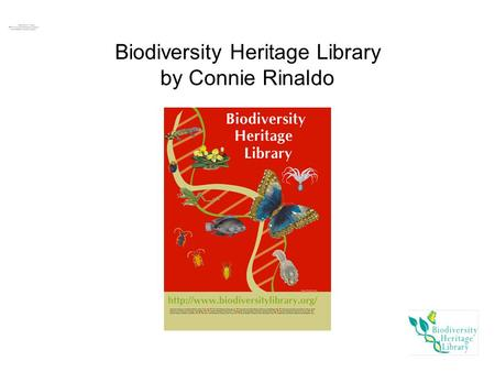 Biodiversity Heritage Library by Connie Rinaldo. Overview History EOL/BHL: WHY? Members/Collaborators Process Governance Sustainability: Legal and Financial.