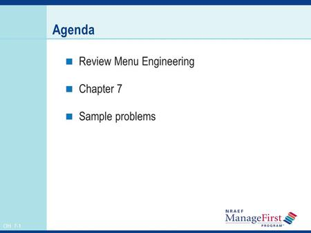 Agenda Review Menu Engineering Chapter 7 Sample problems.