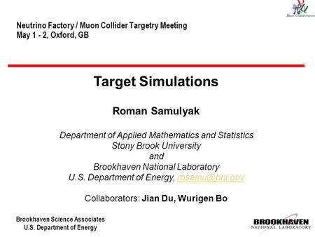 Brookhaven Science Associates U.S. Department of Energy Neutrino Factory / Muon Collider Targetry Meeting May 1 - 2, Oxford, GB Target Simulations Roman.