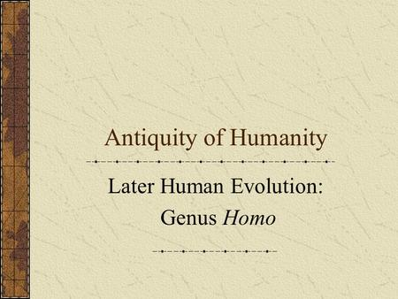 Antiquity of Humanity Later Human Evolution: Genus Homo.