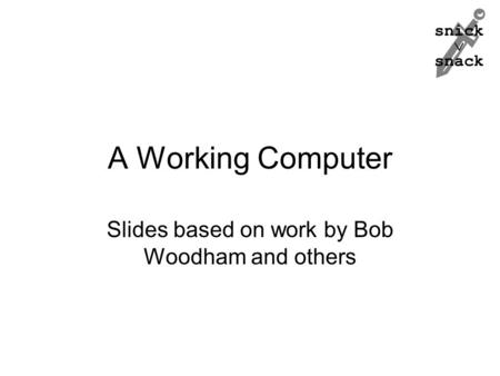 Snick  snack A Working Computer Slides based on work by Bob Woodham and others.