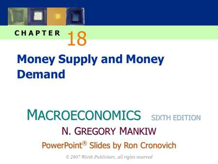 M ACROECONOMICS C H A P T E R © 2007 Worth Publishers, all rights reserved SIXTH EDITION PowerPoint ® Slides by Ron Cronovich N. G REGORY M ANKIW Money.