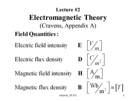 reinisch_85.5111 Lecture #2 Electromagnetic Theory (Cravens, Appendix A)