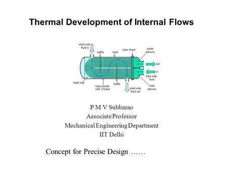 Thermal Development of Internal Flows P M V Subbarao Associate Professor Mechanical Engineering Department IIT Delhi Concept for Precise Design ……