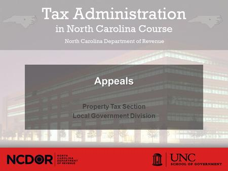 Property Tax Section Local Government Division Appeals.