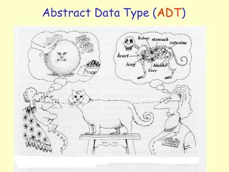 Abstract Data Type (ADT). 2 An Abstract Data Type (ADT) is a data structure with a set of operations –Operations specify how the ADT behaves, but does.