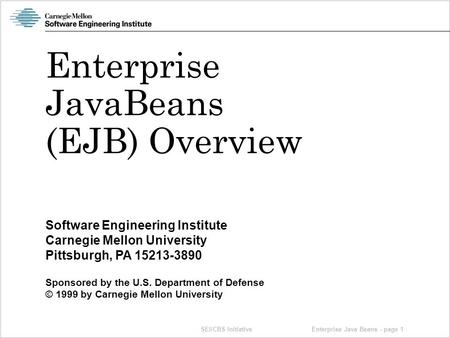 SEI/CBS Initiative Software Engineering Institute Carnegie Mellon University Pittsburgh, PA 15213-3890 Sponsored by the U.S. Department of Defense © 1999.