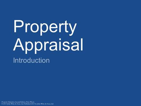 Property Appraisal Introduction.