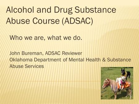 Alcohol and Drug Substance Abuse Course (ADSAC)