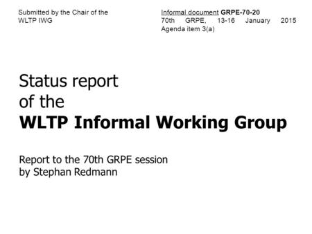 WLTP Informal Working Group