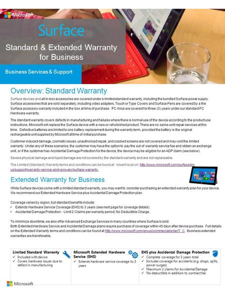 Standard & Extended Warranty for Business Business Services & Support Overview: Standard Warranty Surface devices and all in-box accessories are covered.