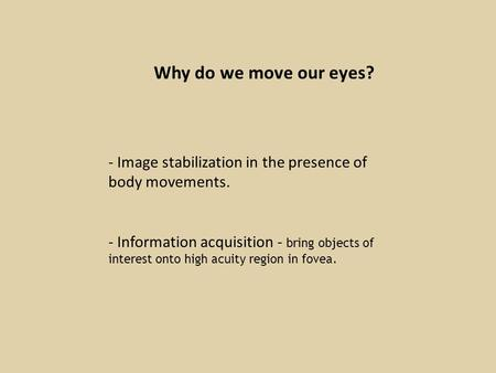 Why do we move our eyes? - Image stabilization in the presence of body movements. - Information acquisition - bring objects of interest onto high acuity.