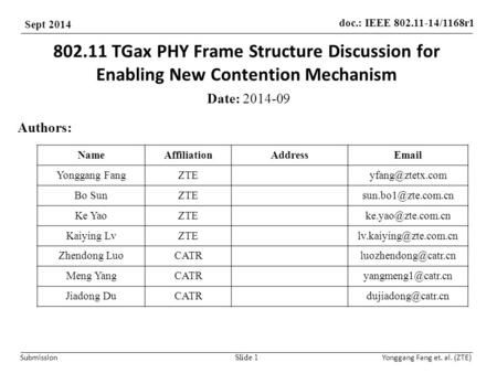 Doc.: IEEE 802.11-14/1168r1 Sept 2014 Submission Yonggang Fang et. al. (ZTE) 802.11 TGax PHY Frame Structure Discussion for Enabling New Contention Mechanism.