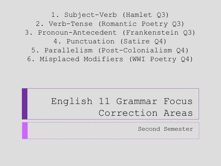 English 11 Grammar Focus Correction Areas Second Semester 1. Subject-Verb (Hamlet Q3) 2. Verb-Tense (Romantic Poetry Q3) 3. Pronoun-Antecedent (Frankenstein.