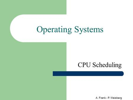 A. Frank - P. Weisberg Operating Systems CPU Scheduling.