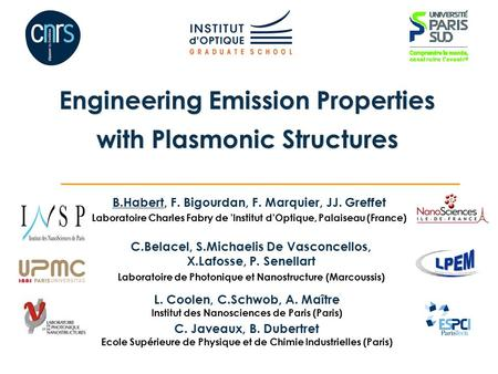 L. Coolen, C.Schwob, A. Maître Institut des Nanosciences de Paris (Paris) Engineering Emission Properties with Plasmonic Structures B.Habert, F. Bigourdan,