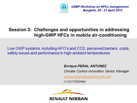 UNEP Workshop on HFCs management.