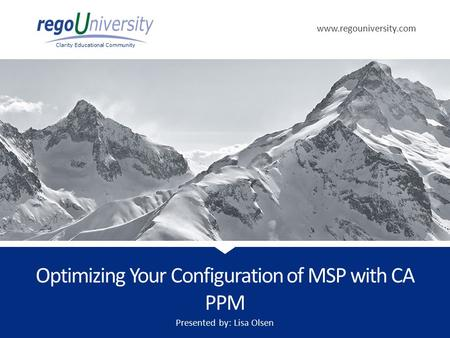 Optimizing Your Configuration of MSP with CA PPM