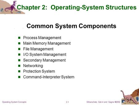 Silberschatz, Galvin and Gagne  2002 3.1 Operating System Concepts Common System Components Process Management Main Memory Management File Management.