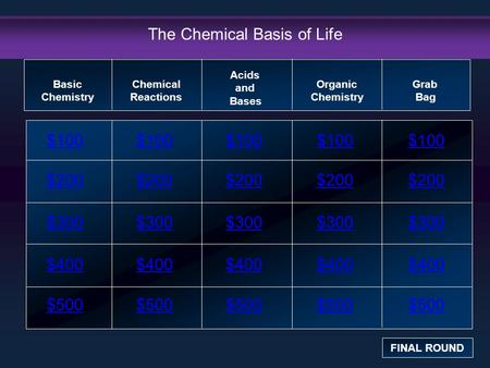 The Chemical Basis of Life $100 $200 $300 $400 $500 $100$100$100 $200 $300 $400 $500 Basic Chemistry FINAL ROUND Chemical Reactions Acids and Bases Organic.