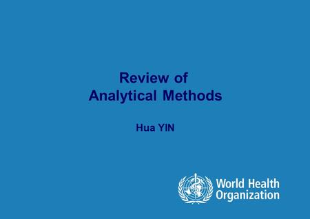 Review of Analytical Methods
