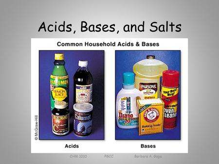 Acids, Bases, and Salts CHM 1010 PGCC Barbara A. Gage.