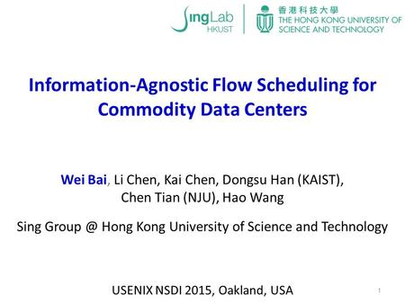Information-Agnostic Flow Scheduling for Commodity Data Centers