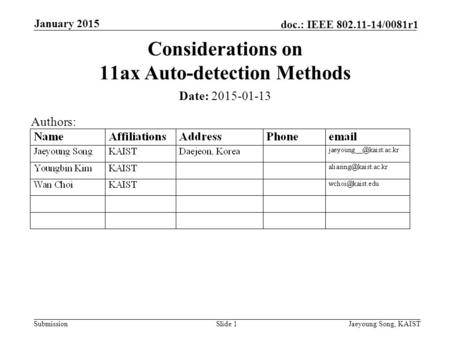 Submission doc.: IEEE 802.11-14/0081r1 Date: 2015-01-13 Considerations on 11ax Auto-detection Methods January 2015 Jaeyoung Song, KAISTSlide 1 Authors: