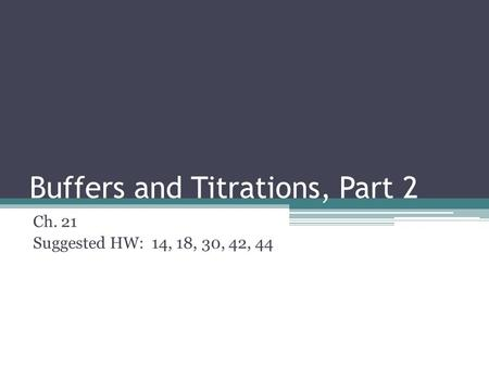 Buffers and Titrations, Part 2 Ch. 21 Suggested HW: 14, 18, 30, 42, 44.