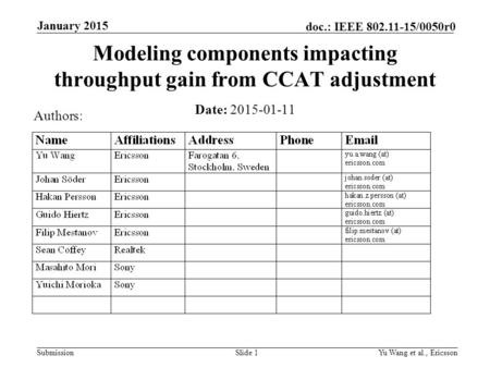 Submission doc.: IEEE 802.11-15/0050r0 January 2015 Yu Wang et al., EricssonSlide 1 Modeling components impacting throughput gain from CCAT adjustment.