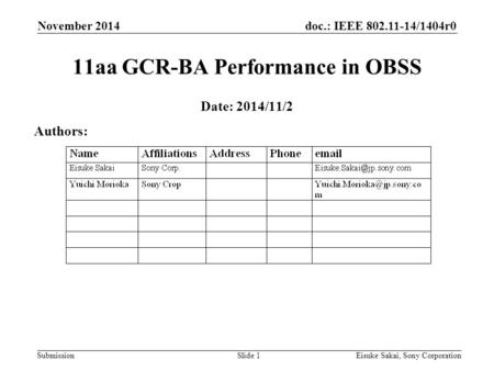 Doc.: IEEE 802.11-14/1404r0 Submission November 2014 Eisuke Sakai, Sony CorporationSlide 1 11aa GCR-BA Performance in OBSS Date: 2014/11/2 Authors:
