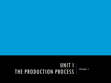 UNIT I THE PRODUCTION PROCESS Chapter 1. DO NOW  What are some of your favorite TV shows?  How much planning do you think goes into creating a TV show?