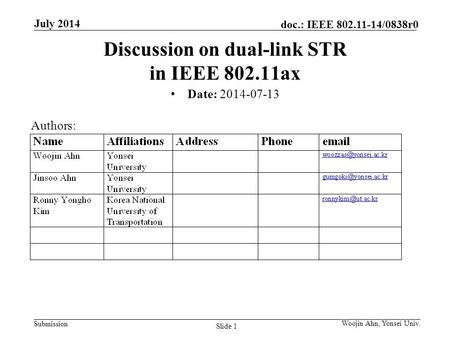 Submission doc.: IEEE 802.11-14/0838r0 July 2014 Woojin Ahn, Yonsei Univ. Slide 1 Discussion on dual-link STR in IEEE 802.11ax Date: 2014-07-13 Authors: