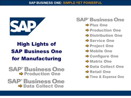 SAP BUSINESS ONE: SIMPLE YET POWERFUL High Lights of SAP Business One for Manufacturing.