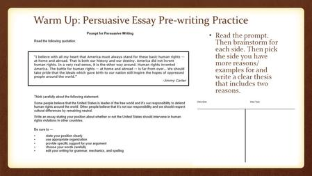 Warm Up: Persuasive Essay Pre-writing Practice