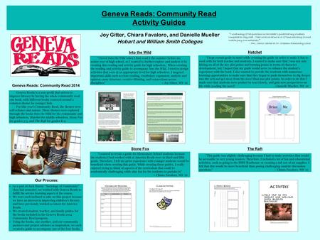 Geneva Reads: Community Read Activity Guides Joy Gitter, Chiara Favaloro, and Danielle Mueller Hobart and William Smith Colleges Geneva Reads: Community.