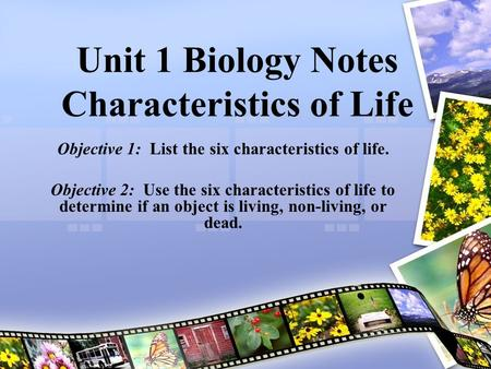 Unit 1 Biology Notes Characteristics of Life