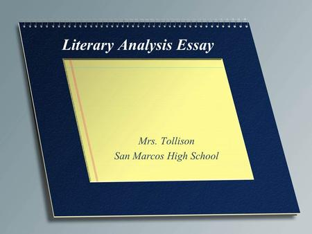 high school literary analysis essay
