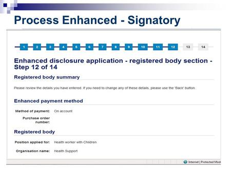 Process Enhanced - Signatory. Application is immediately forwarded to work queue in AccessNI.