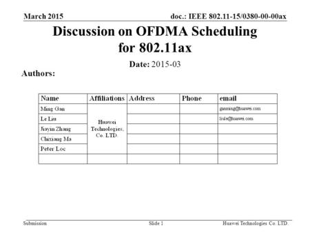 Doc.: IEEE 802.11-15/0380-00-00ax Submission March 2015 Slide 1 Discussion on OFDMA Scheduling for 802.11ax Date: 2015-03 Authors: Huawei Technologies.