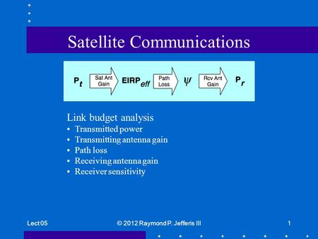 Lect 05© 2012 Raymond P. Jefferis III1 Satellite Communications Link budget analysis Transmitted power Transmitting antenna gain Path loss Receiving antenna.