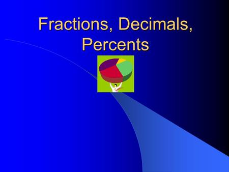 Fractions, Decimals, Percents. Changing fractions to decimals Divide the top (numerator) by the bottom (denominator)! Copyright © 2000 by Monica Yuskaitis.