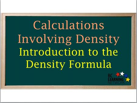 Calculations Involving Density