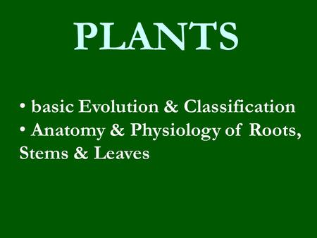 PLANTS basic Evolution & Classification