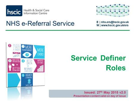 E | W |  E | W |  NHS e-Referral Service Service Definer Roles Issued: