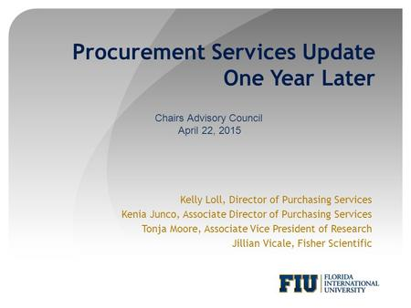 Procurement Services Update One Year Later